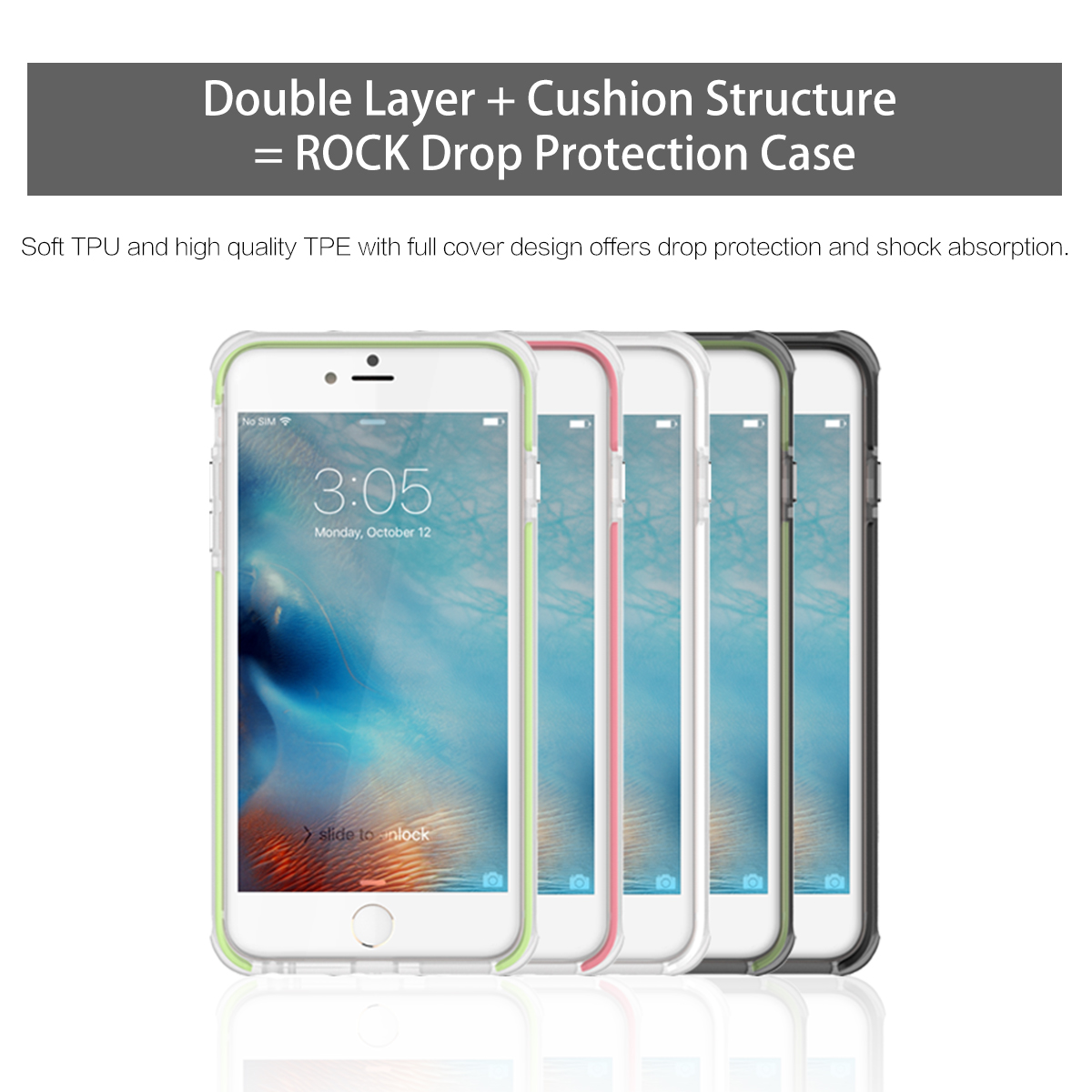Rock Double Layer Strong Protection Soft TPU TPE Cover Protection Case For iPhone 6 6S 4.7inch