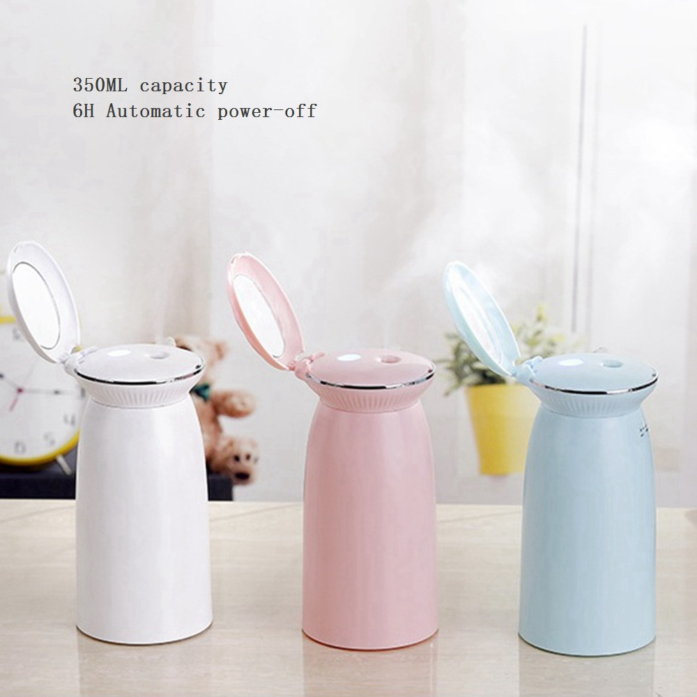 Portable USB Shell Humidifier Sprayer with Makeup Mirror Cans Mute Air Purifier for Home Office Car