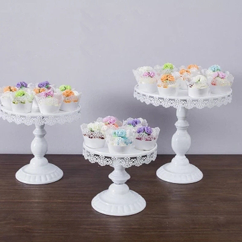 White Round Cake Cupcake Stand Modern Dessert Wedding Birthday Party Event Decor