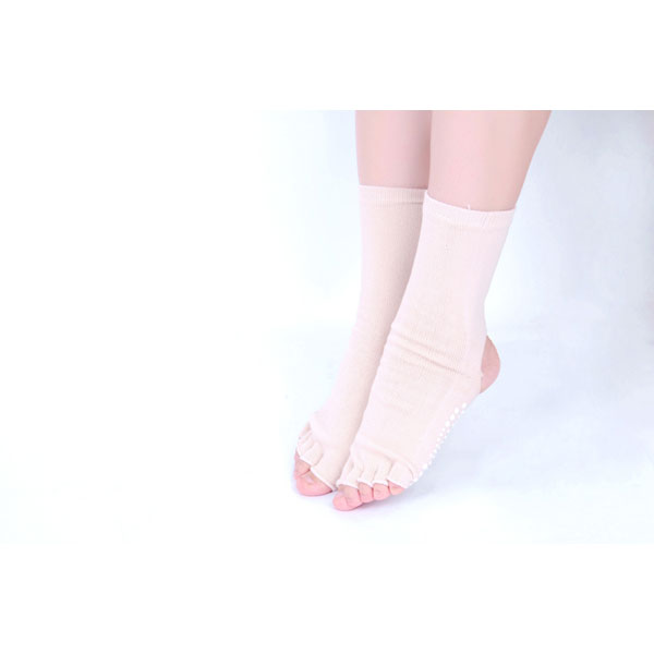 Women Men Five Finger Toes Yoga Socks Bare Heel Toes High Tube Non-Slip Cotton Stocking