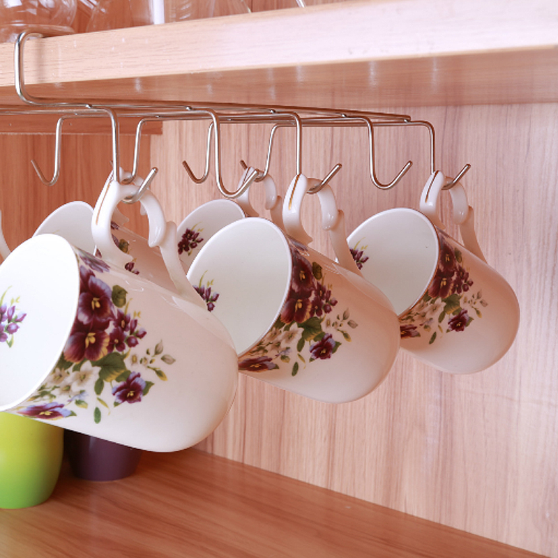 12 Hooks Stainless Steel Kitchen Storage Rack Cupboard Hanging Hook Shelf Dish Hanger Chest Storage