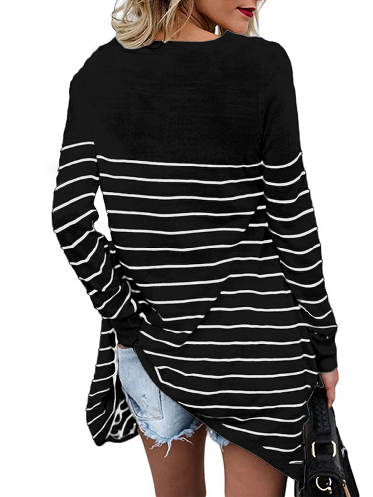 Women Stripe Crew Neck Loose Casual Irregular Blouse