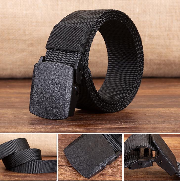 120cm KALOAD R01 Men Women Canvas Adjustable Quick Release Tactical Belt PE Buckle 3.8cm Width Waistband
