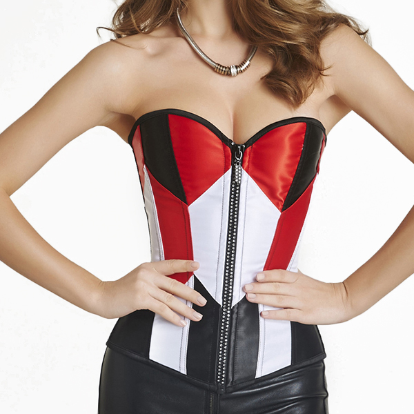 Sexy Fashion Stitching Color Satin Overbust Front Zipper Cosplay Bustiers Corset
