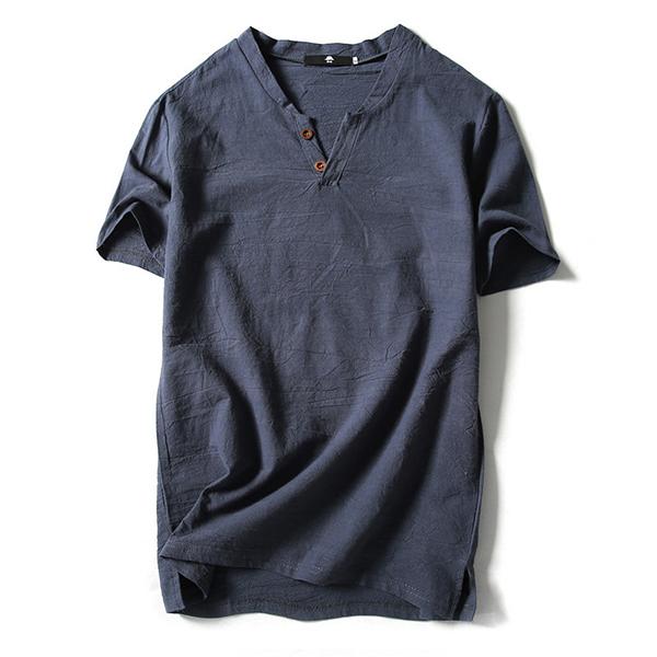 Mens Fashion V-neck Short Sleeved T-shirts