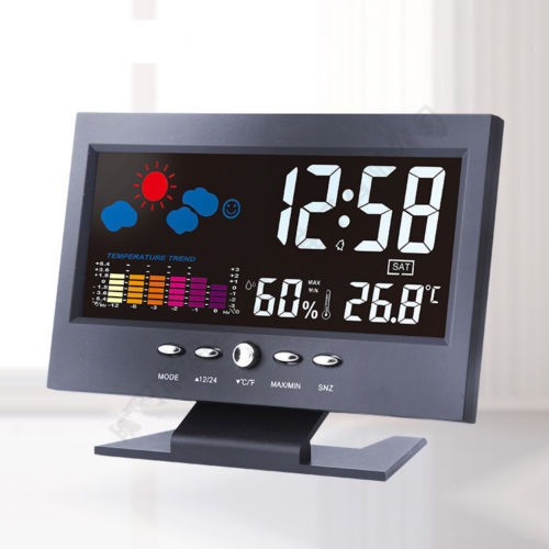 iMars™ Color LCD Screen Calendar Digital Clock Car Thermometer Weather Forecast Black