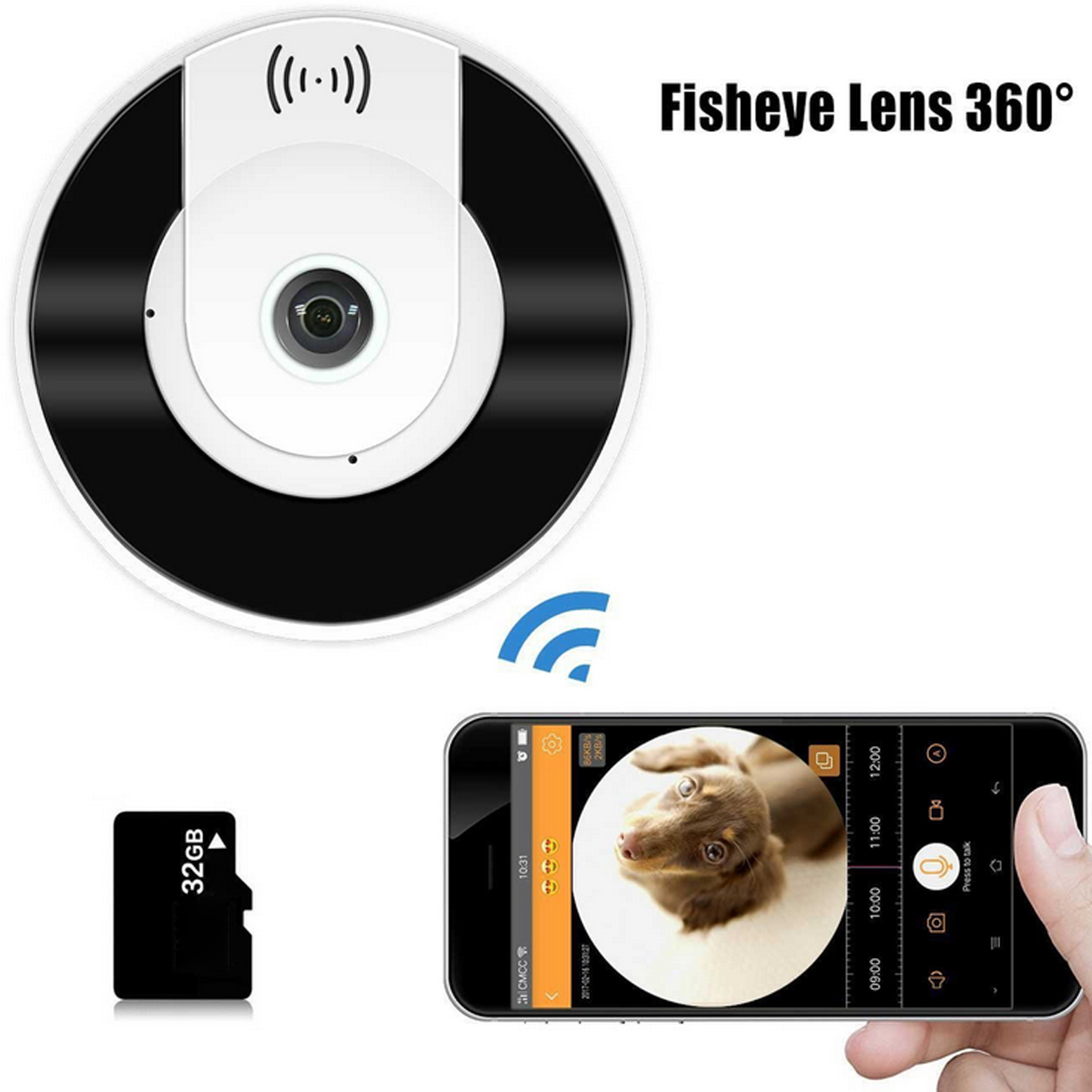 Y380-Q2 Mini 360° 960P WiFi Panoramic Fisheye IP Camera Two Way Audio Night Vision Motion Detection