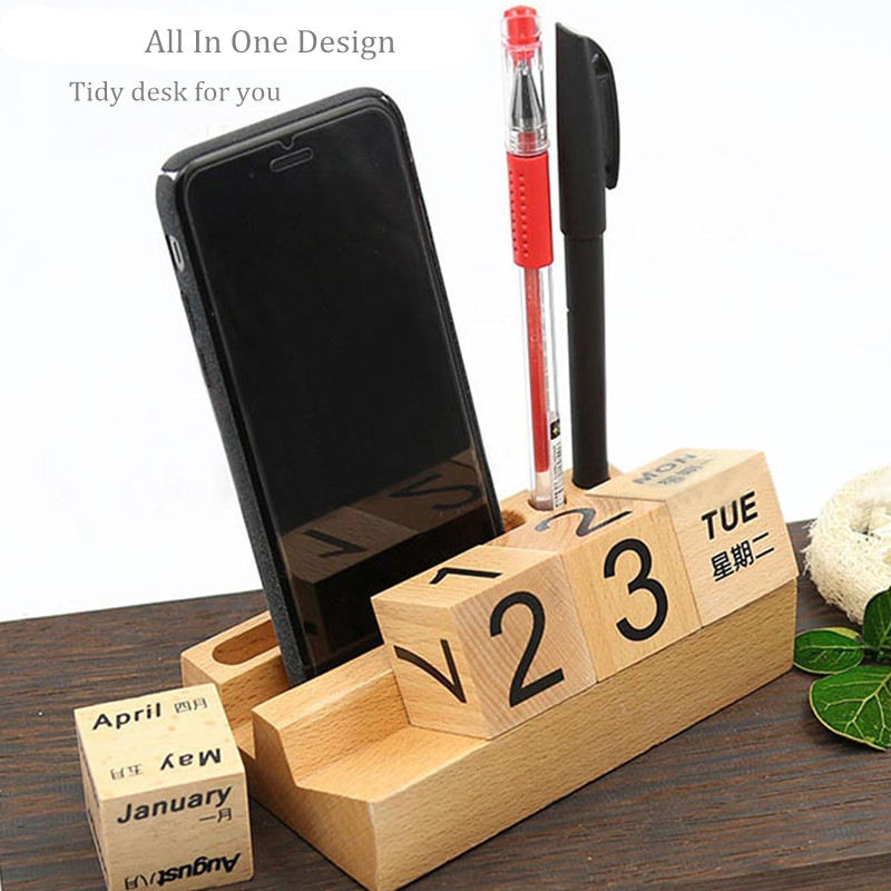 3 in 1 Wooden Detachable Calendar Desktop Phone Stand Cell Phone Holder For Xiaomi iPhone Pen