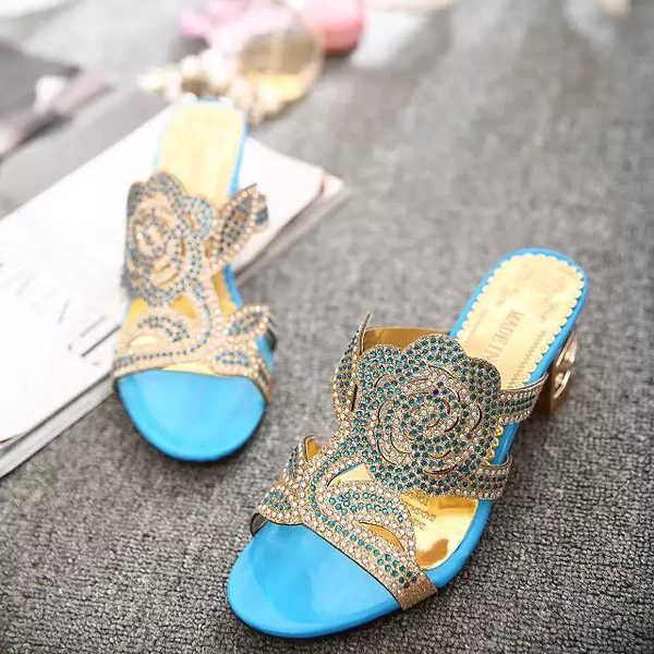 Summer Breathable Beach Sandals Rhinestone Chic Shoes Slip On Platform Sandals