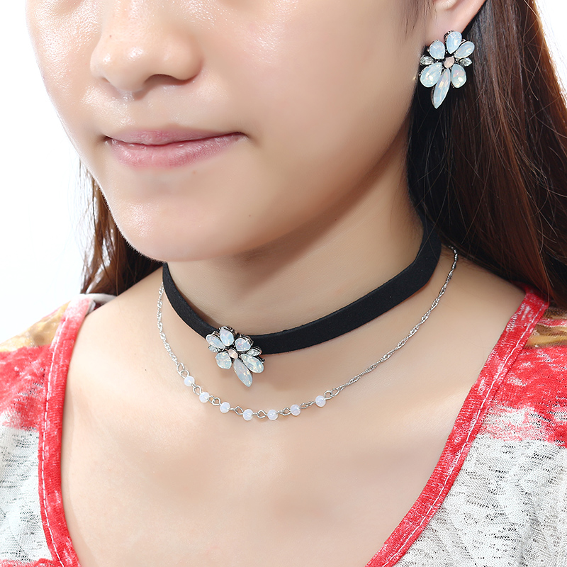 Elegant Flower Charm Double Layer Black Choker Necklace Piercing Earrings Fashion Women Jewelry Set