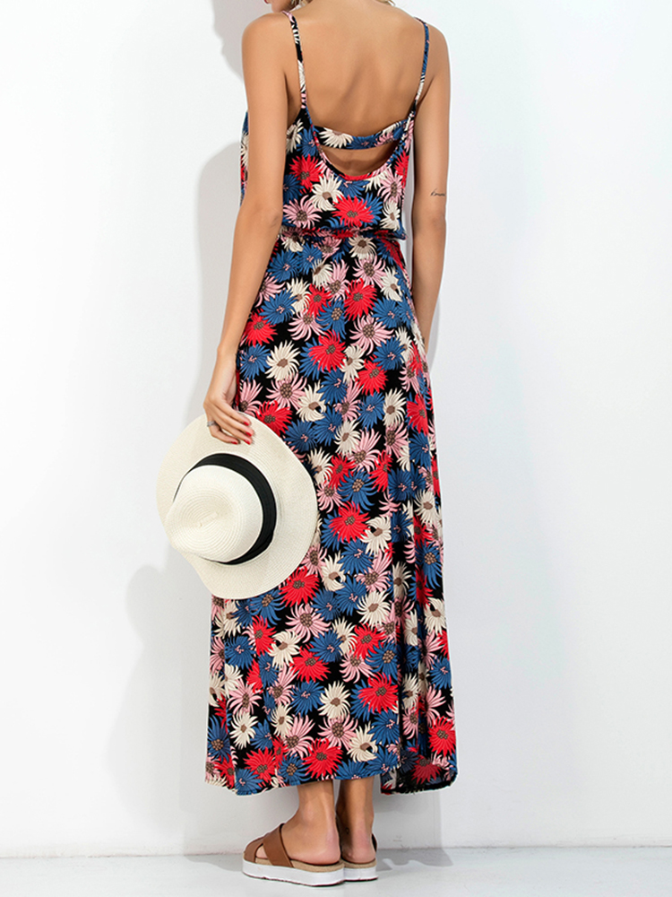 Sexy Women Floral Print Backless Strap Long Maxi Dresses