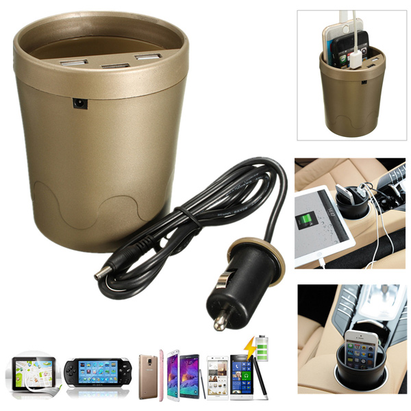 Universal 3 Port USB Travel Smart Super Car Charger Cup Holder For iPhone GPS