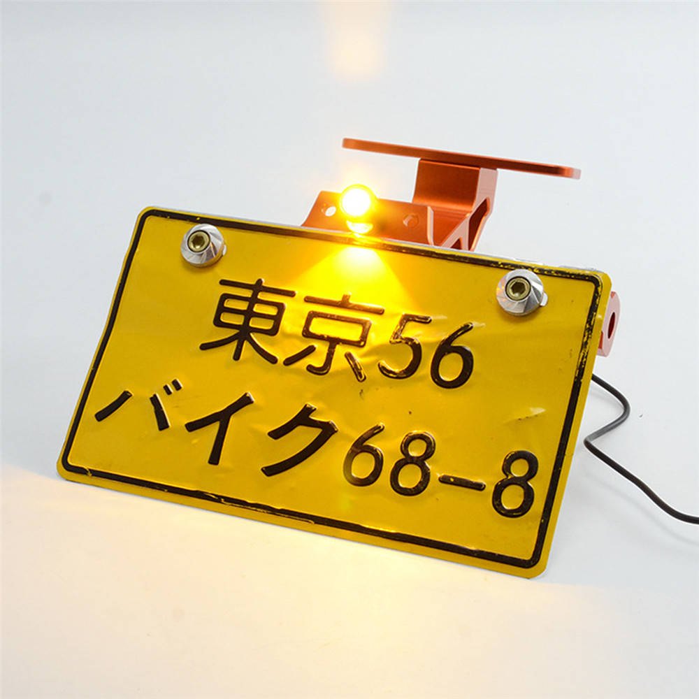 Motorcycle Adjustable Modified License Plate Holder Plate Bracket with LED Lights