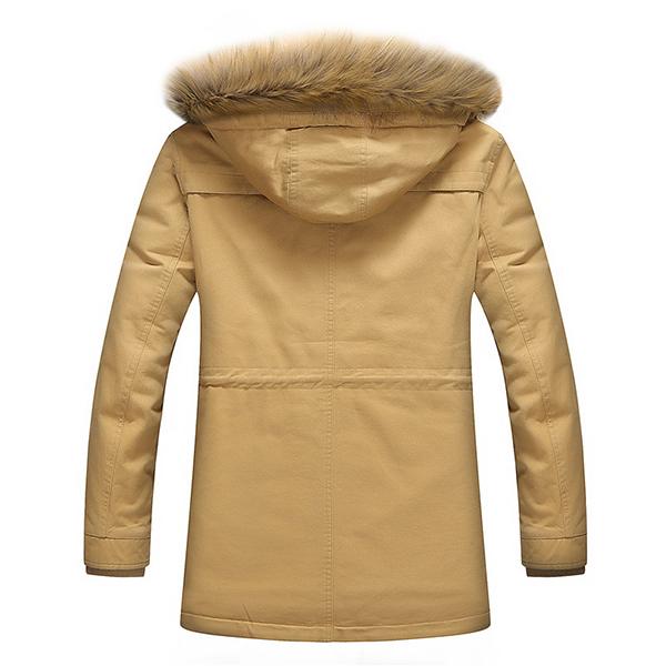 Winter Fleece Thick Warm Furry Hood Slim Men Outdoor Parkas