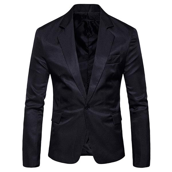 Mens Pure Color Slim Fit Busniess Casual Suit Blazers