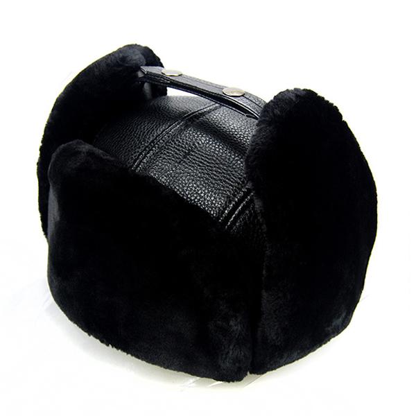 Unisex PU Leather Earflap Ear Muff Hat Faux Fur Plush Linen Buckle Pilot Trapper Cap