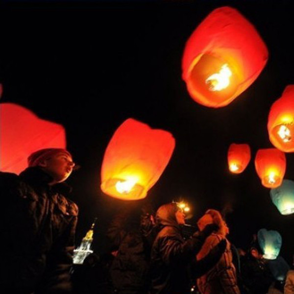 5X Love Heart Kong Ming Sky Lanterns Chinese Traditional Wishing Lamp Rose Red Color