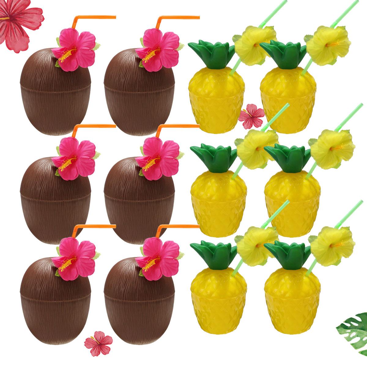 12Pcs Plastic Coconut Pineapple Cup w/ Straw Tropical Hawaiian Luau Hula Beach Pool Party Cup Decor