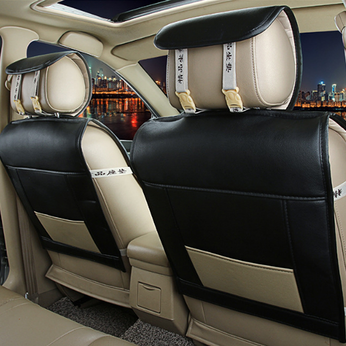 11Pcs Leather Car Full Surround Seat Cover Cushion Protector Set Universal for 5 Seats Car