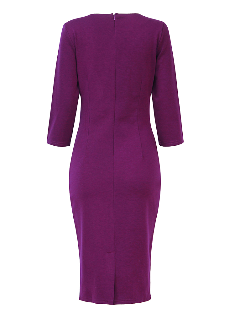Vintage Rose Embroidery 3/4 Sleeve Work Cocktail Women Pencil Dress