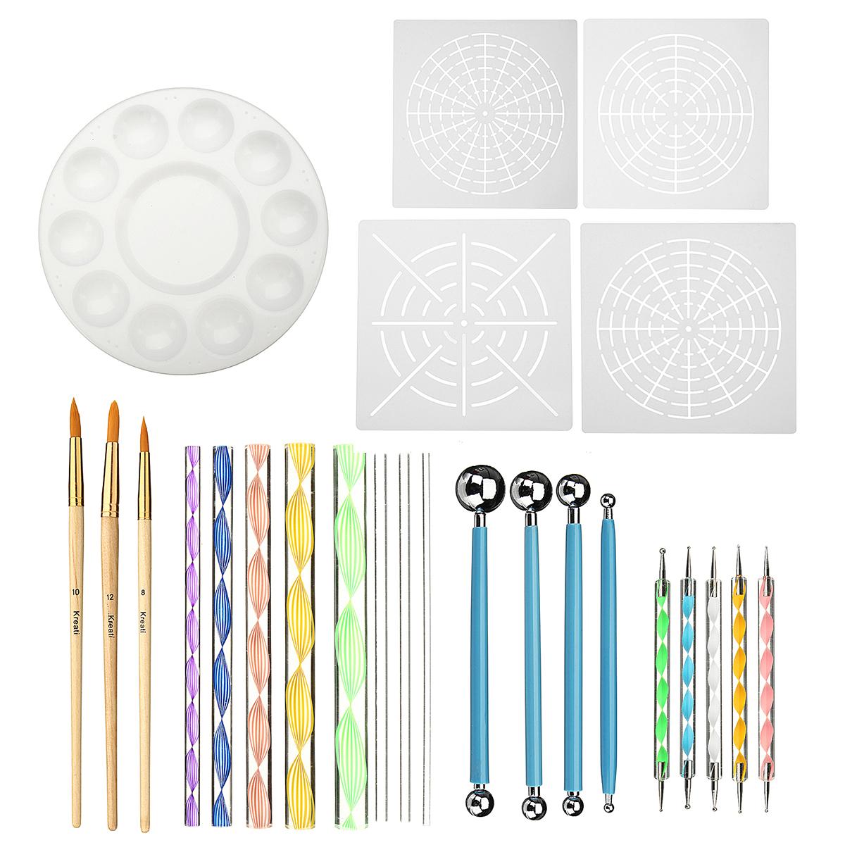 25Pcs/Set Mandala Dotting Set Diamond Paintings Tool Drawing Kits Brushes and Paint Tray for Kids Crafts Nail Art Painting