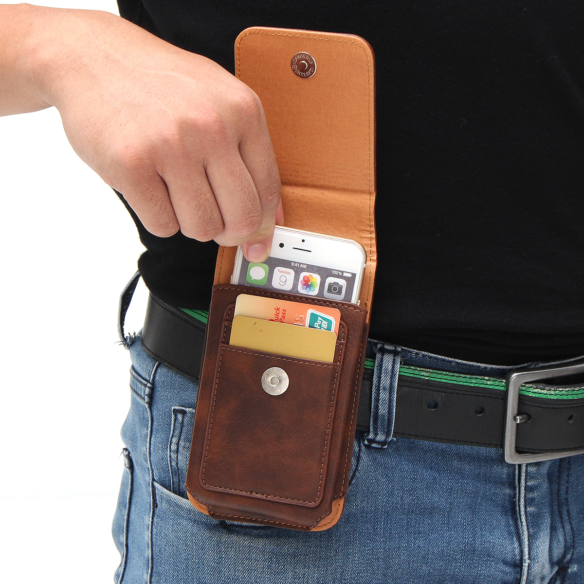 Man Business PU Phone Wallet Card Bag Wallet Purse Dual Use Waist Bag