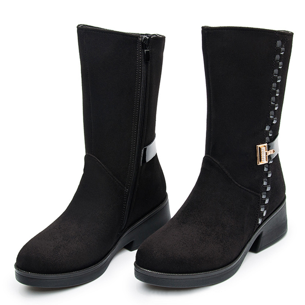 Winter Women Mid Calf Snow Boots Fashion Fur Lining Cotton Suede Low Heel Shoes