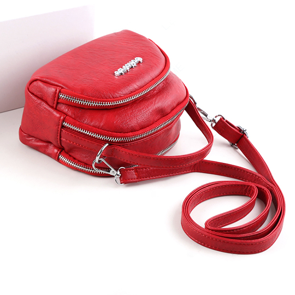 Women Faux Leather Mini Phone Bag Multi-Slot Retro Crossbody