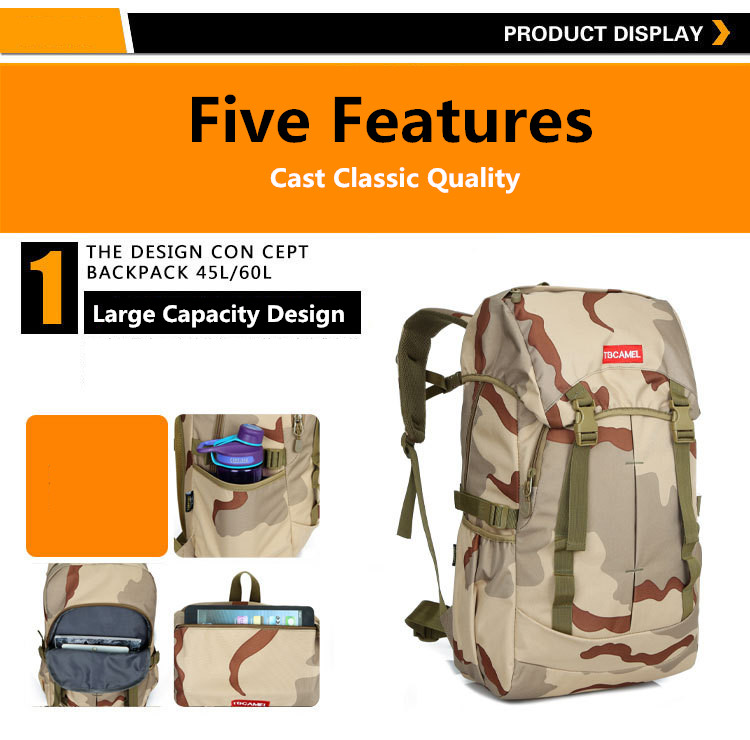 Men's Large Capacity Nylon Outdoor Waterproof Professional Camouflage Military Tactical Backpack