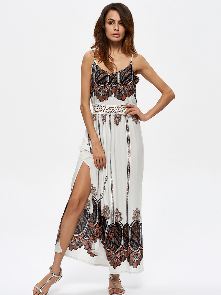Bohemian Sexy Spaghetti Strap Hollow Out Printing Maxi Dress For Women