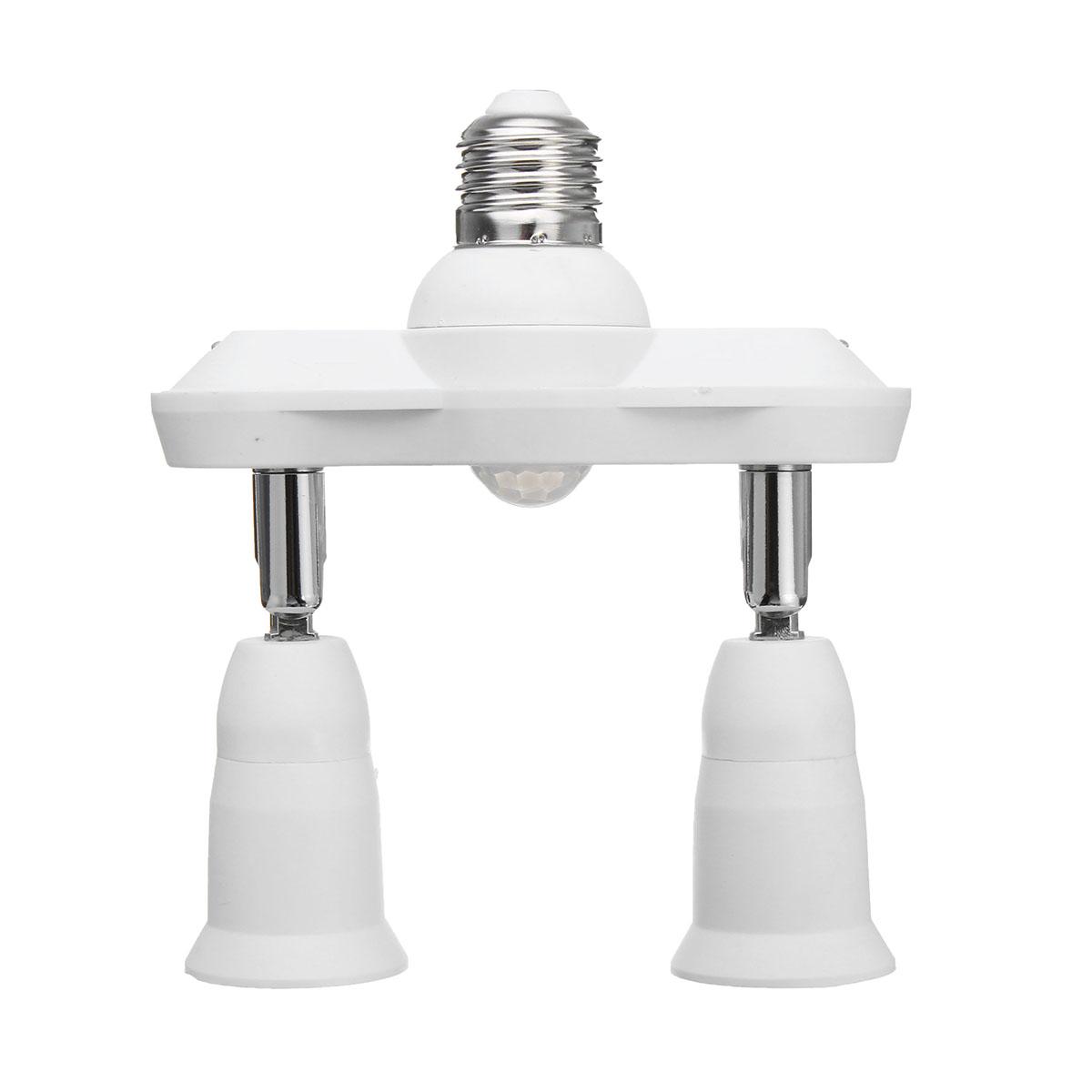 LUSTREON Infrared Motion Sensor Adjustable 2 In 1 E27 Bulb Adapter Socket Converter Splitter