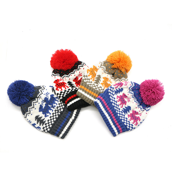 Women Men Christmas Printing Knitted Beanie Hats Winter Warm Thicken Hats For Christmas Gift