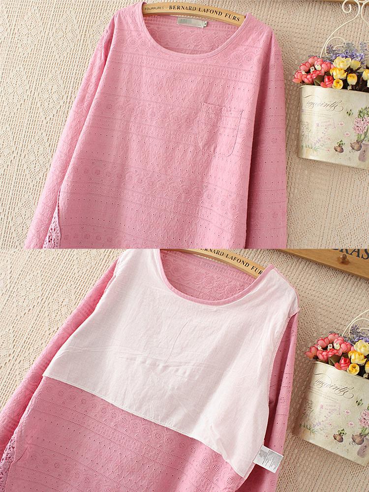 Plus Size Casual Women Lace Crochet Hollow Out Blouse