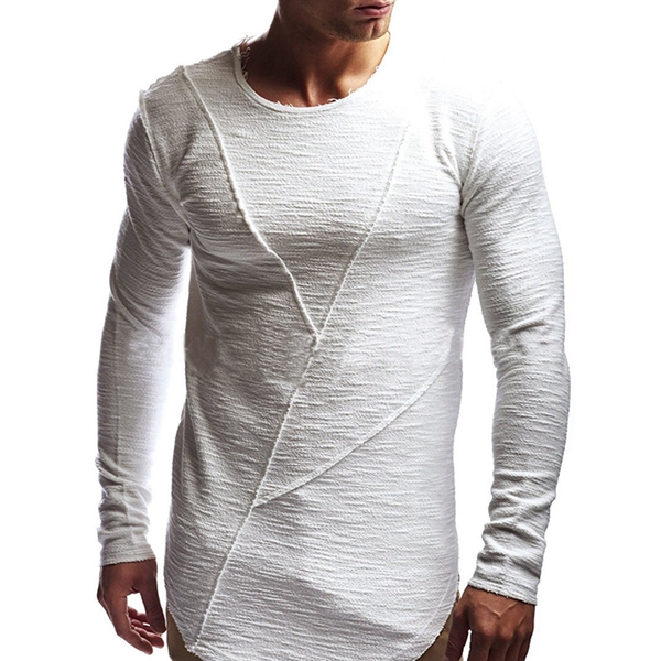 INCERUN Mens Slim Elastic Long Sleeve Extra long Basic Tees