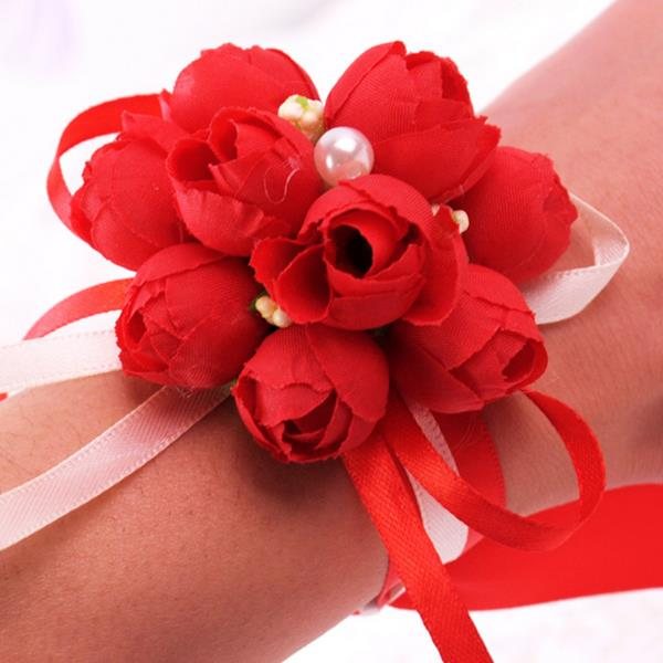 Wedding Decoration Wrist Flower Bride Bridesmaid Sisters Hand Simulation Flower Corsage Bouquets