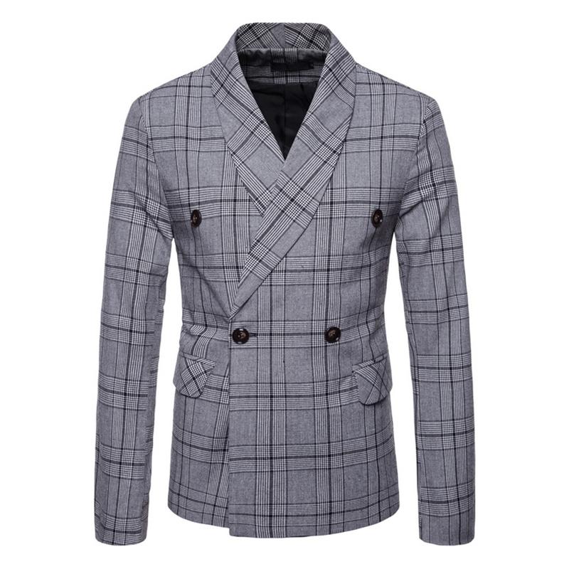 Mens Elegant Slim Fit Plaid Printed Suits