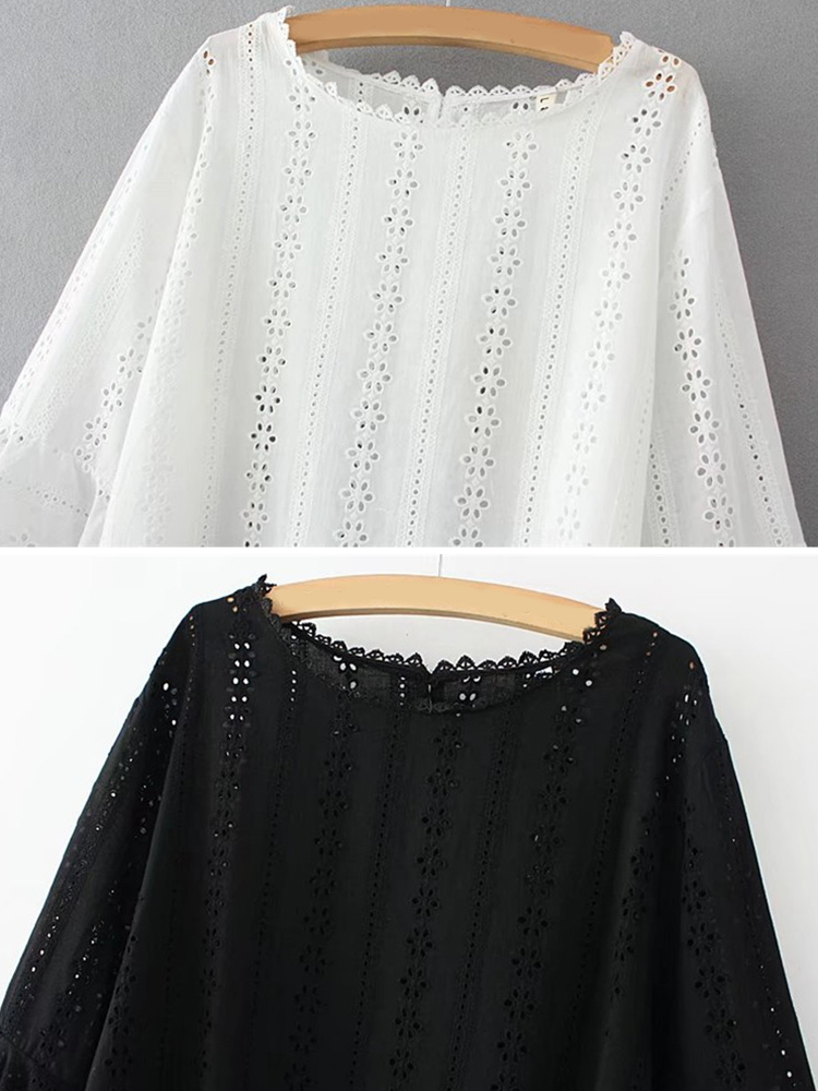 Plus Size Women Hollow Out Ruffled Long Sleeve Tops