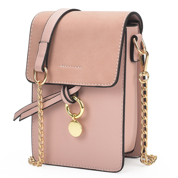 Stylish Girl PU Leather Flap Phone Bag Chain Shoulder Bag Crossbody Bags For Women