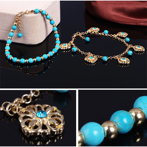 Turquoise Beads Alloy Chain Tassel Crystal Anklets Jewelry