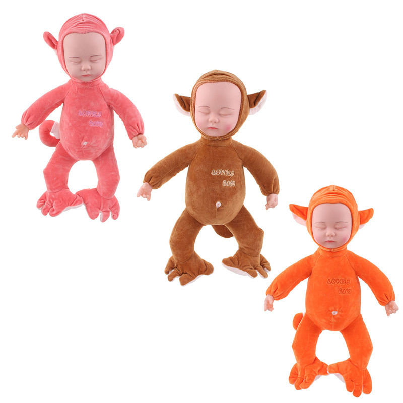 Sleeping Monkey Reborn Baby 35cm Cartoon Clothing Sing Songs Girls Doll Toy Gift