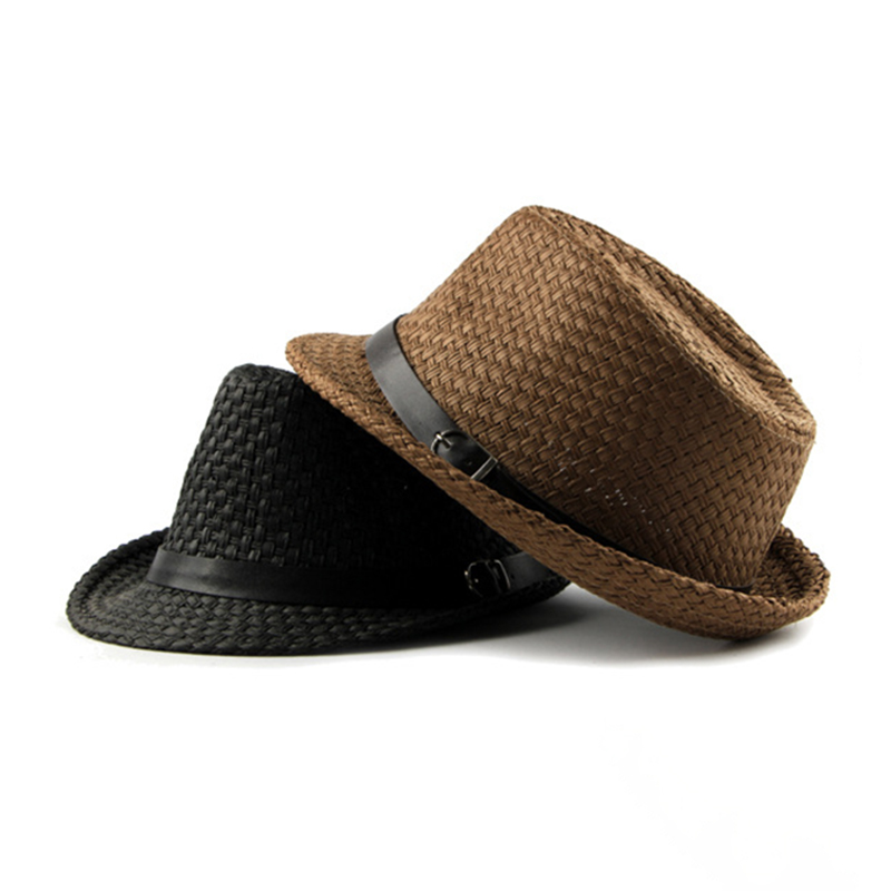 Woven Panama Style Fedora Straw Sun Hat with Leather Belt