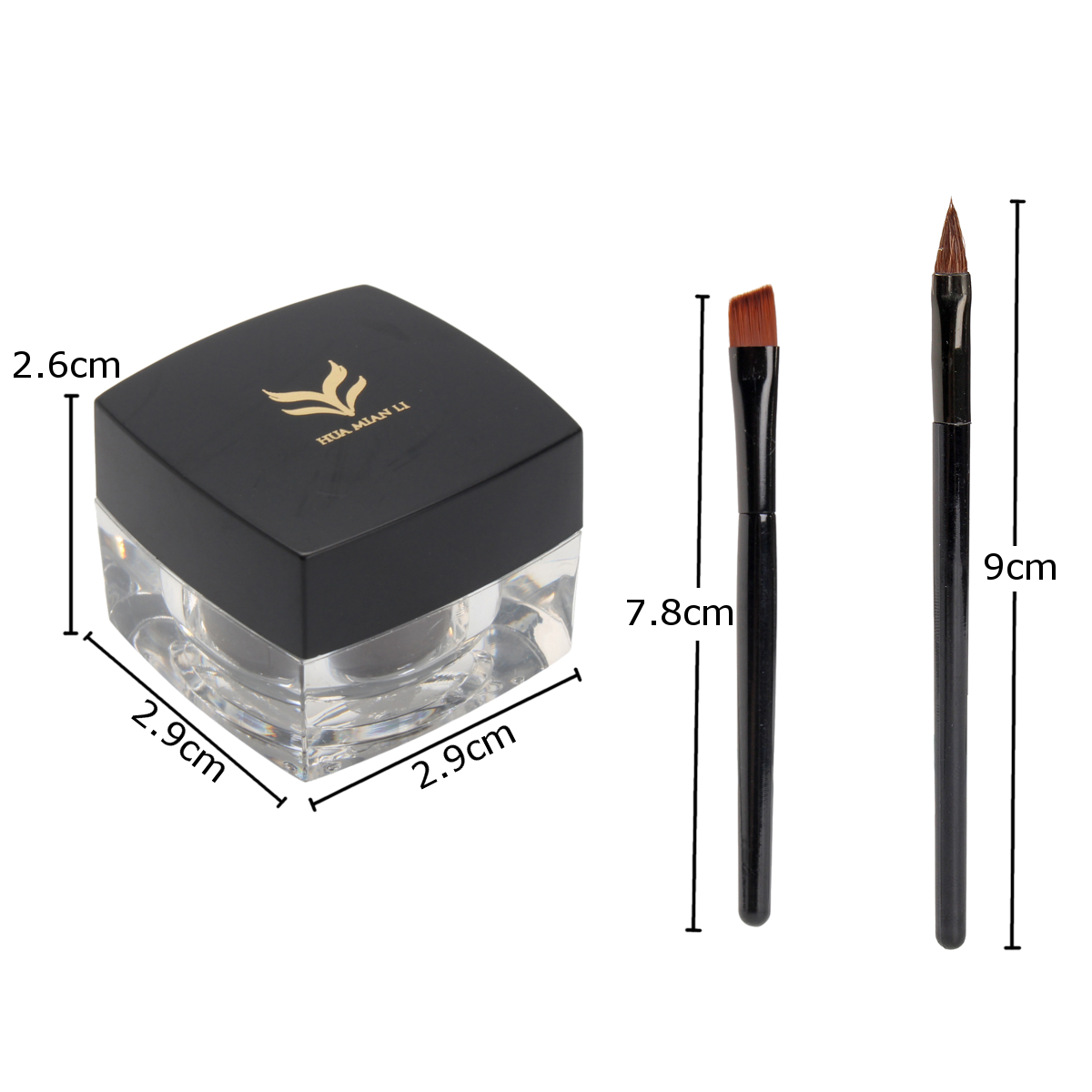 Huamianli Black Brown Cream Eyeliner Fashion Waterproof Makeup Gel Eyeliner With Brush