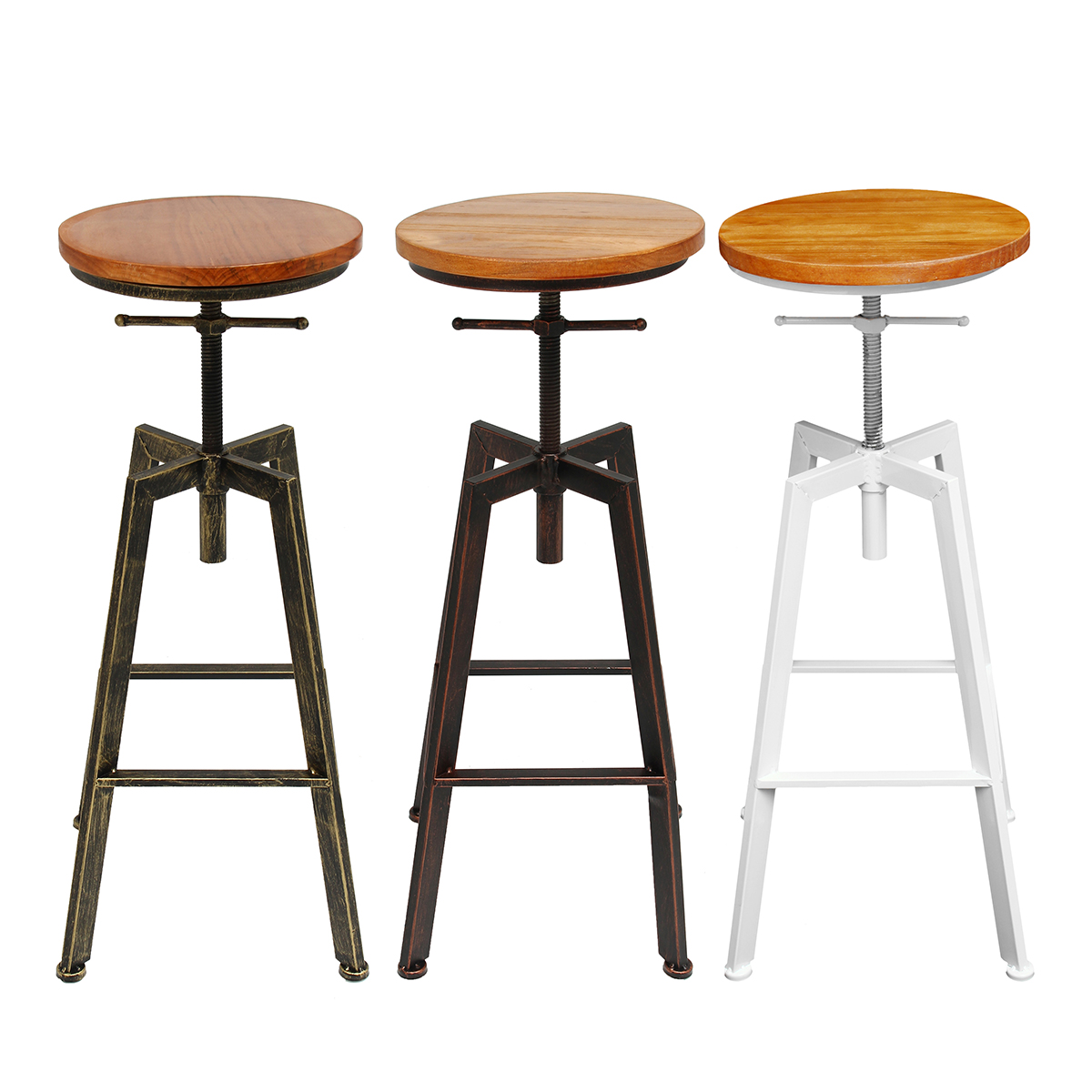 Adjustable Bar Chairs Wood Iron Counter Stool Retro Industrial Rotating Lift Bar Decorations