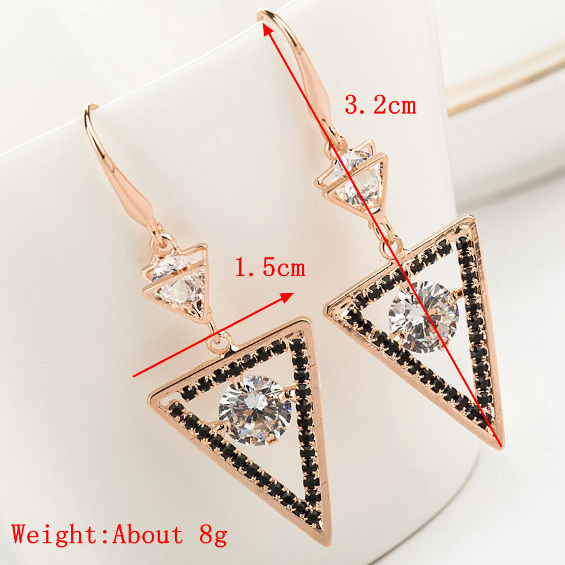 Geometric Shape Zircon Ear Drop Unique Long Earrings