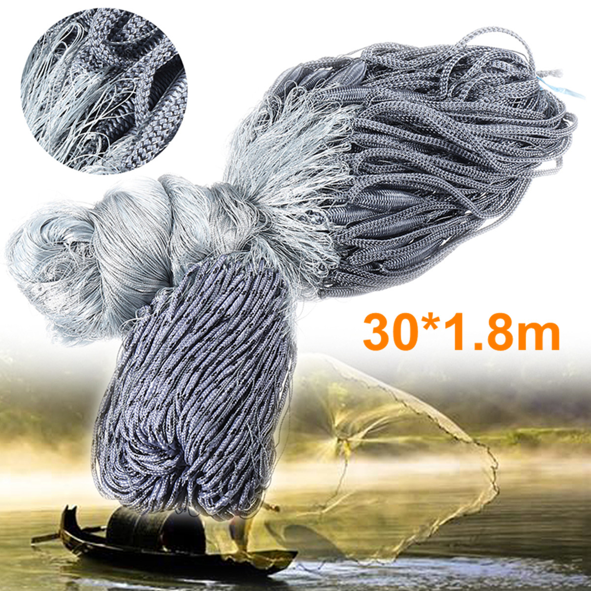 ZANLURE 30×1.8m Nylon Outdoor Fishing Grill Net Mesh 4×4cm Fishing Tackle Trap Accessories