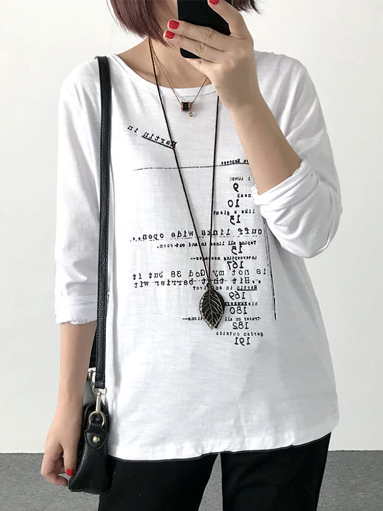 Letter Print Loose Blouses