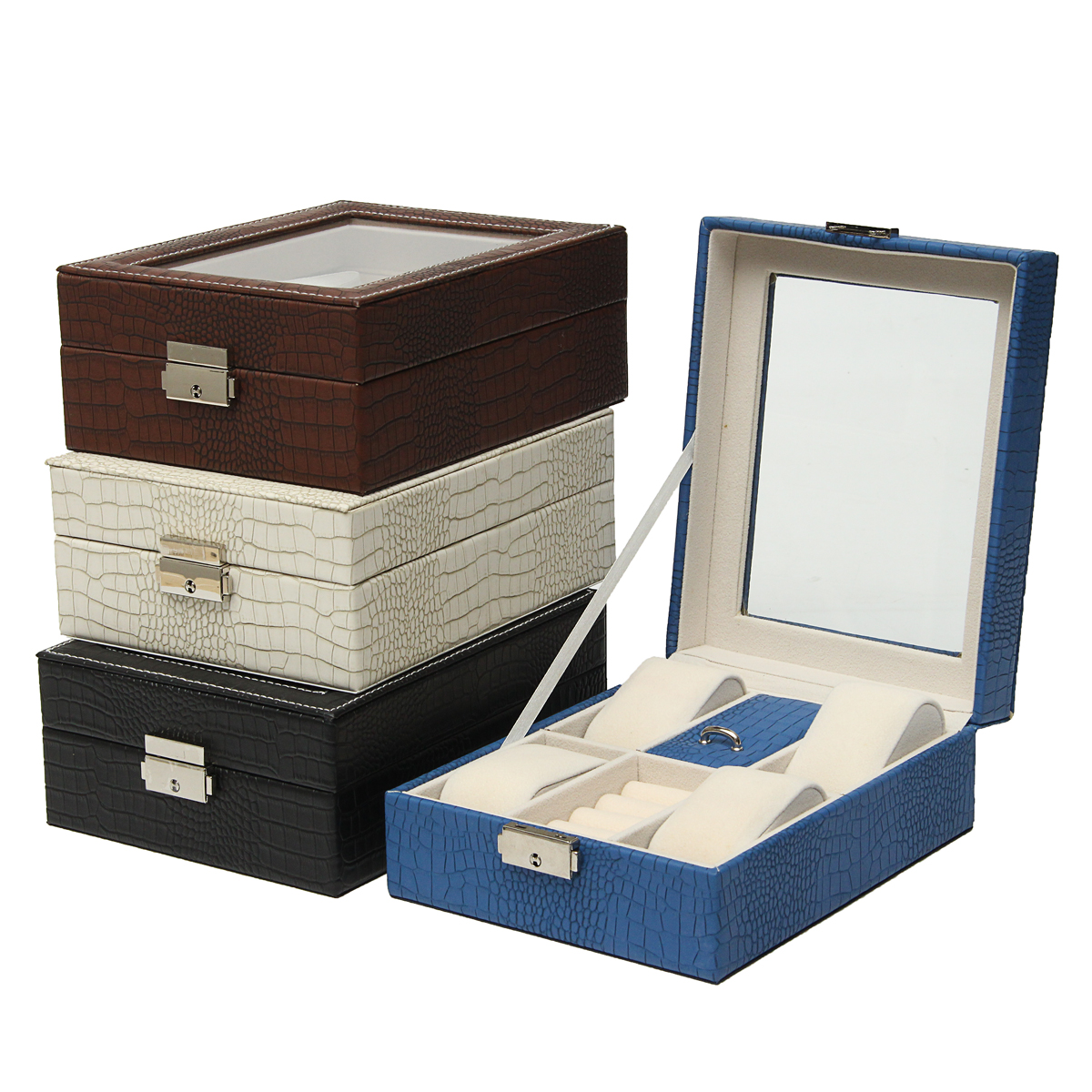 Leather Display Case Organizer Acrylic Collection Box for Storage Watch Jewelry