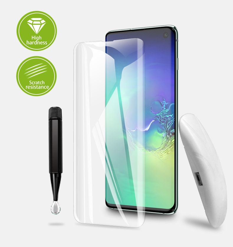 Bakeey UV Full Glue Support Ultrasonic Fingerprint Tempered Glass Screen Protector For Samsung Galaxy S10 Plus 3D Curved Edge Film