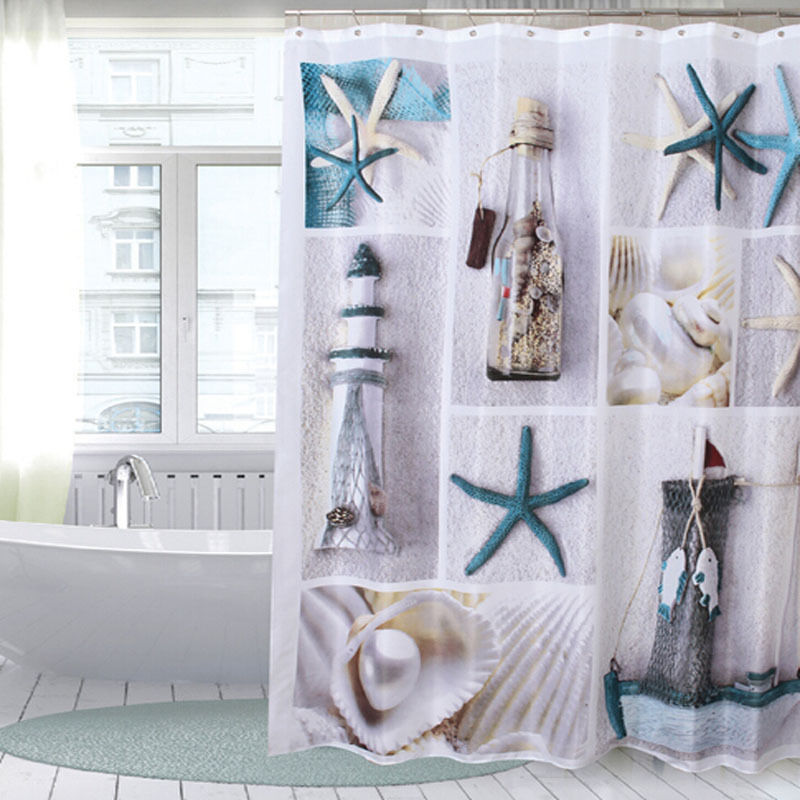 180x180cm Sea Shells Bathroom Shower Curtain with 12 Ho