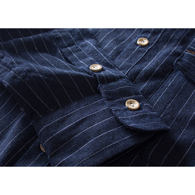 Linen Cotton Striped Chest Pocket Button up Shirts for Men